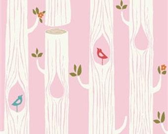 Tree Stripes Pink Double Gauze by Birch Fabrics