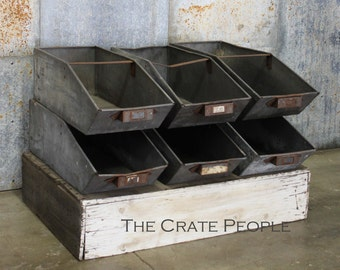Vintage Industrial Parts BINS | Industrial Zinc Bins | Stackable Bins -- Factory Parts Bin