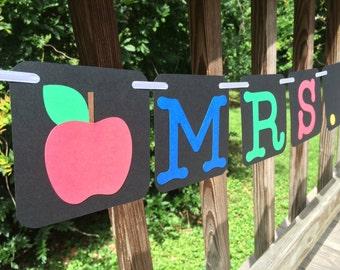 Personalized Teacher Banner, Classroom Banner, Teacher Name Banner, Elementary Class Decor, Photo Prop