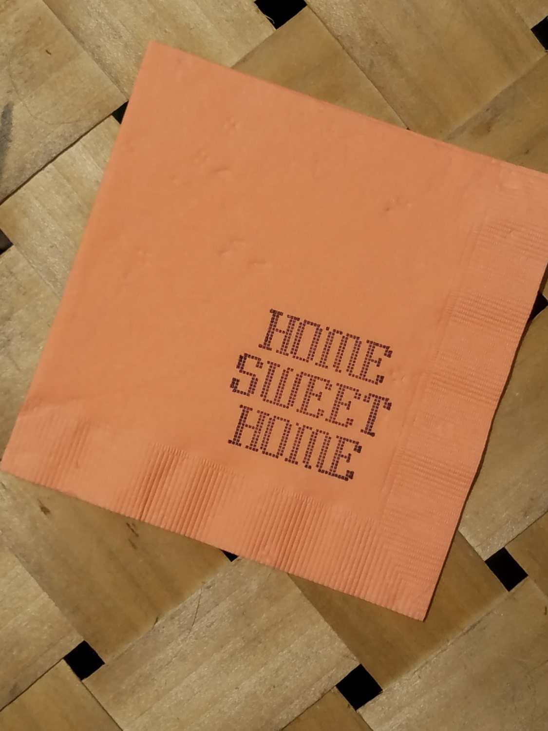 Home Sweet Home Peach Coral House Warming Cross Stitch