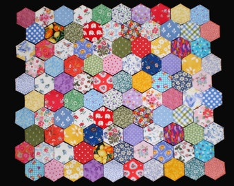100 Tacked Hexagons for patchwork, inc. vintage Laura Ashley & Cath Kidston Fabrics