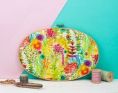 Embroidery hoop art - Liberty print wall art - Contemporary fabric art - Gallery wall art - Patterned fabric gifts - Textile gifts