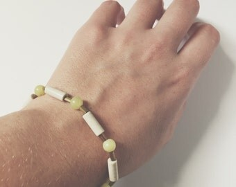 Lemon stone ceramic and brass bracelet
