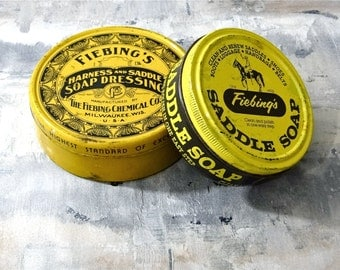 Saddle Soap Tins Father's Day Dad Gift / Fiebing's Vintage Set of Two Harness & Saddle Soap Collectible Litho Tins Containers