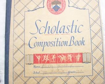 Scholastic Composition Book ~ School Book ~ Vintage ~ Est. 1940's / 1950's era