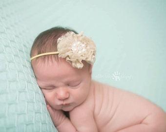 Cream Headband, Lace Headband. Infant Headband- Cream Tan Lace Baby Headband with Pearl Rhinestone Center Skinny Elastic