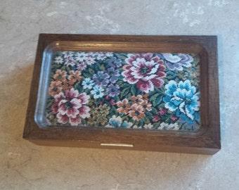 Vintage tapestry wood jewelry box