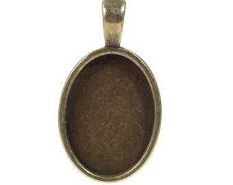 2pc Antique Bronze Oval Cabochon Setting - Fits 25x18mm - Jewelry Finding, Jewelry Making Supplies, Necklace, DIY, Ships from USA - S7