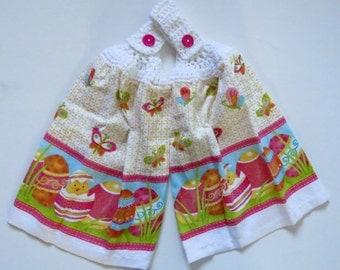 Easter Egg with Butterflies Crochet Top Kitchen Hand Towel Set of 2