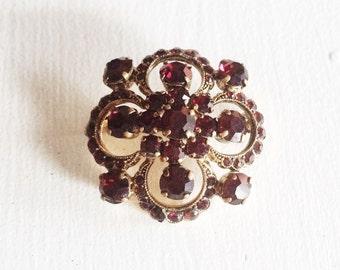 Vintage Bohemian Ruby Glass Brooch, Garnet Glass Vintage Rhinestone Brooch