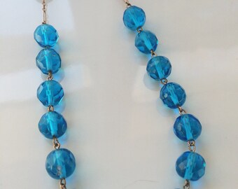 Stunning Art Deco Czech Glass Necklace, Deep Aqua Glass Vintage Necklace, 1930s Jewelry