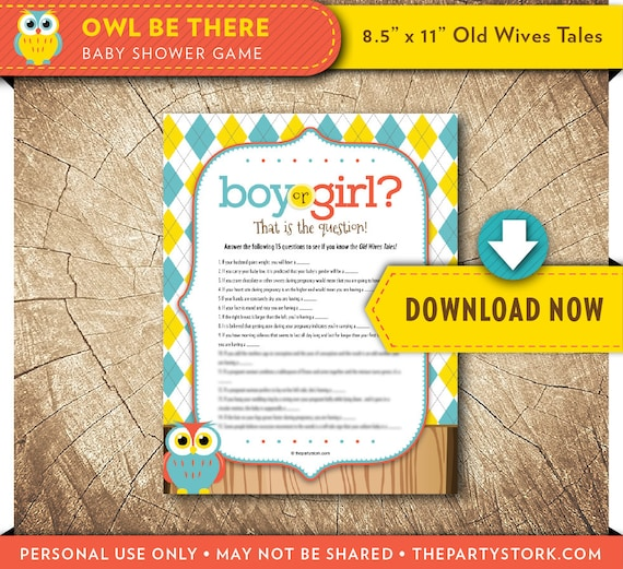 Owl Old Wives Tales Baby Shower Game Printable Coed Trivia Game