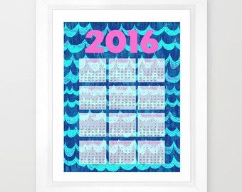 2016 Calendar WAVES  Art Print by SchatziBrown
