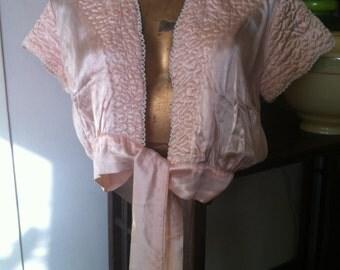 1930's 1940's Lucia rayon boudoir bolero bed jacket size SW