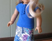 """American Girl Doll Clothes / 18"""" Doll Clothing - Maxi Skirt / Blue Top"""