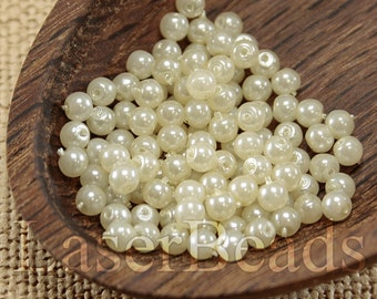 150pc 3mm Off-white pearl Beads Light cream pearl coated beads Czech druk beads Ivory 3mm round beads