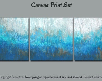 Teal Abstract, Multi Panel Canvas Print Set 3 Piece Wall Art, Turquoise Blue