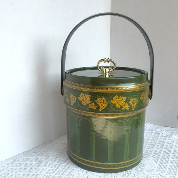 Vintage Barware Plastic And Vinyl Insulated Ice Bucket In