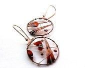 Autumn copper earrings, brown orange resin earrings, leaf earrings, butterfly earrings, dangle earrings