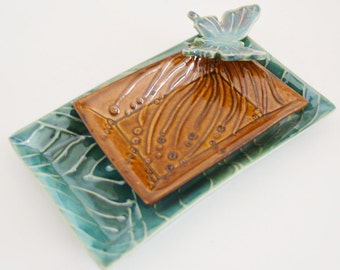 Butterfly Serving Trays, Decorated Ceramic Nesting Trays, Pottery Serving Platters, Holiday Gift, Home Decor, Made to Order