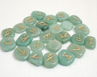 Aventurine Rune Stone Set Green Rune Stones