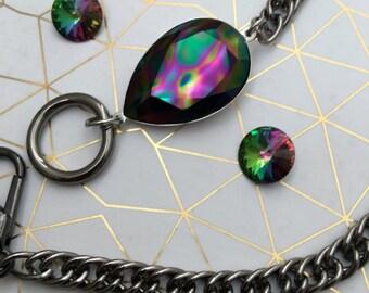 Swarovski autumn Large Crystal wrap gunmetal steel chain bracelet