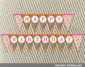 Pennant Banner - Vintage-Rustic - Leaves and Autumn Hayride - Farm -Fall-Pumpkin-Happy Birthday - Instant Download - DIY Digital Decorations