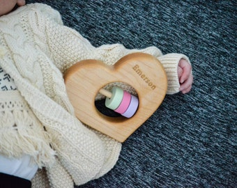 Heart Shaped Wooden Rattle - Organic, Natural, Baby Toy, Customizable