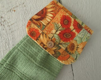 Hanging Kitchen Towel- Sunflower Print  Medium Green Terry Cloth Towel Button Closure