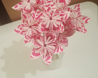 MOVING SALE: Pink and White Swirls Bouquet of 9 stemmed flowers