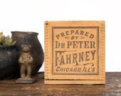Vintage Home Decor / 1920's / Dr. Peter Fahrney Apothecary Wooden Storage Box / Druggist Bottle Shipping Crate With Sliding Lid