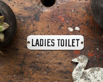 Vintage Sign / 1920's / Original Porcelain Ladies Toilet Sign / Vintage Restroom Door Sign