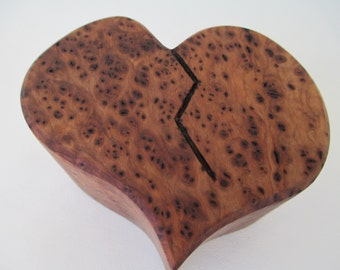 Broken Heart Urn/ memorial Keepsake, Alligator Juniper Burl