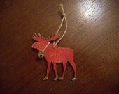 Ornament, Moose, Woodland, Rustic, Deep Red, Bell, Hemp Cord, Christmas, Tree Ornament, Gift Tag, Distressed, Handpainted