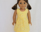 Simply Sweet Yellow Coloured Hearts Sleeveless Summer Dress - Dolls Clothes to fit American Girl dolls & Austrlalian Girl dolls