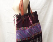 Tribal Boho Tote Bag with Leather Strap