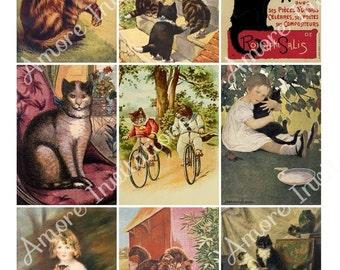 Printable Digital Clip Art Vintage Cats / Kittens Collage Sheet - ATC - JPEG - Instant Download - Downloadable - Cu / Commercial Use ok