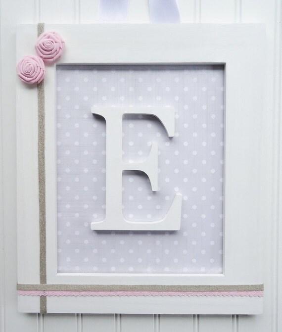 Items Similar To Framed Nursery Letters, Vintage Gray