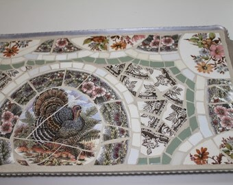 Vintage Tray Turkey Thanksgiving Mosaic Design for Decor Mosaic Art