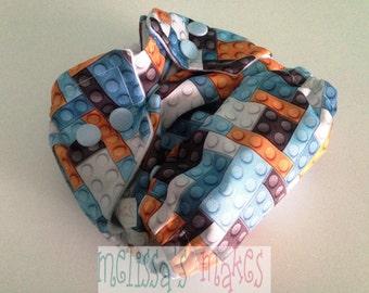 Blue Legos - Newborn Diaper - Newborn Cloth Diaper - Newborn Nappie - Baby Shower Gift - New Mom Gift - AIO Diaper - First Baby Gift