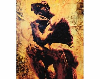 Pop Art 'Rodin Clarified Thought' by Artist Mark Lewis, Thinking Man Sculpture Painting Limited Edition Giclee Print on Metal or Acrylic