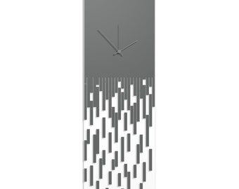 Surreal Wall Clock 'Grey Pixelated Clock' by Adam Schwoeppe - Techy Style Decor Abstract Accent Piece on Acrylic