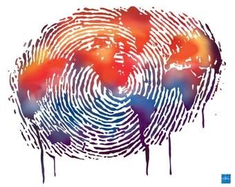 Graffiti Style Finger Print World-water colour-world map-urban art