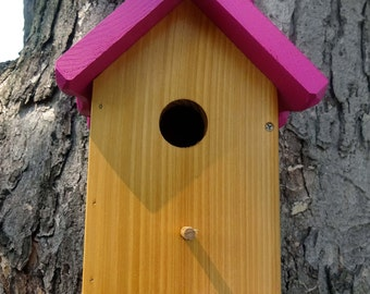 Birdhouse Outdoor wood, Painted Bird house/Nesting Box,Hot Pink roof -Cedar body fully functional EZ clean out  Made in USA fully functional