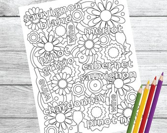 Wine Therapy Coloring Page Instant Download PDF Printable