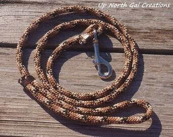 Brown Dog Leash,Multicolor Pet Leash,Brown Diamond Pattern,Floating Leash,Custom Lengths,Polypropylene Pet Leash,Made in Michigan,YooperUSA