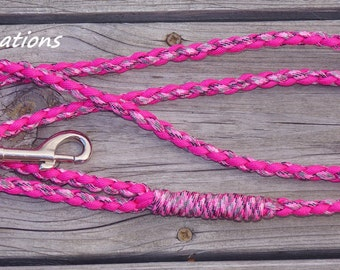 Paracord Dog Leash, Pink and Pink Camo Leash, 6 Foot Pet Leash, 100 Pound Rated Dog Leash, Puppy Supplies, Pet Product, Puppy Leash, Yooper