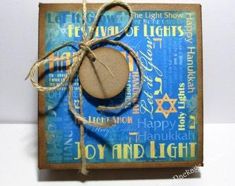 HANUKKAH KRAFT Gift Box, Vintage Inspired, Distressed, Includes Kraft Tissue Sheet, Twine and Tag.