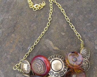 Vintage Button Collage Bib and Brass chain necklace 20 inches