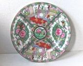 SALE Antique Chinese Porcelain, Rose Medallion Plate, Canton Export, Hand Painted Porcelain, 24K Gold Accents